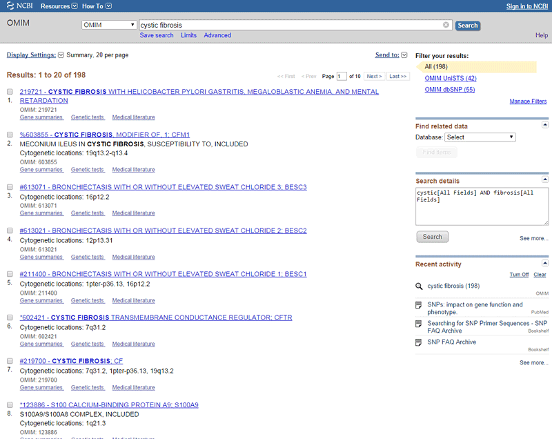 Screenshot of search results on the website ncbi.nlm.nih.gov/omim