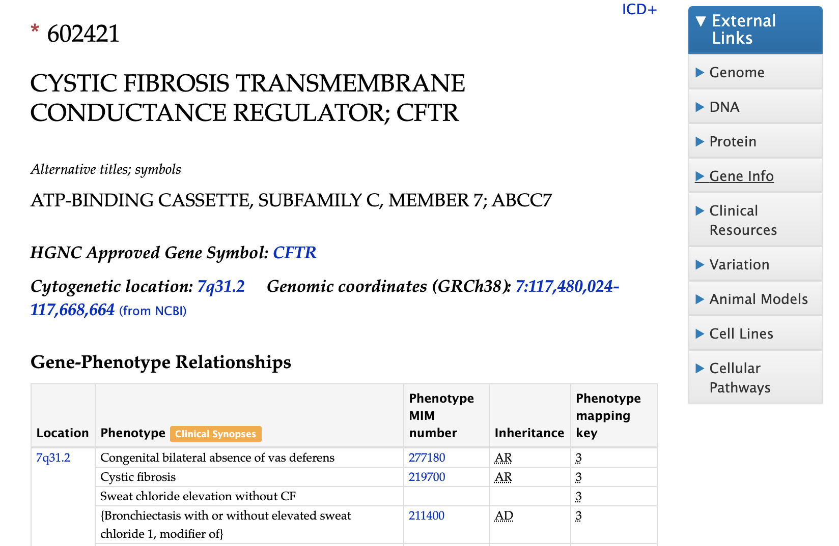 Screenshot of the gene page for CFTR on the OMIM website.