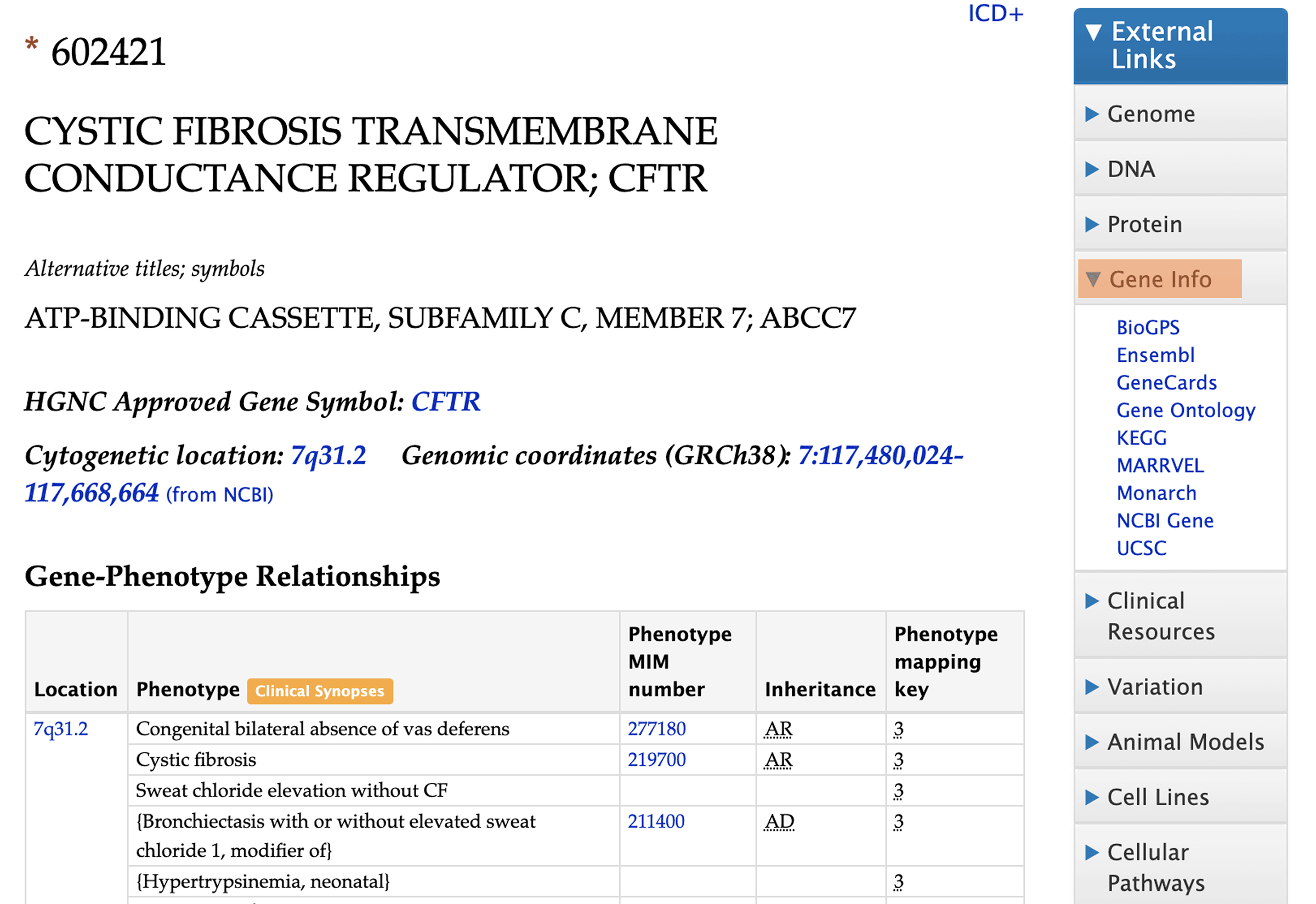Screenshot of the gene page for cystic fibrosis on the OMIM website