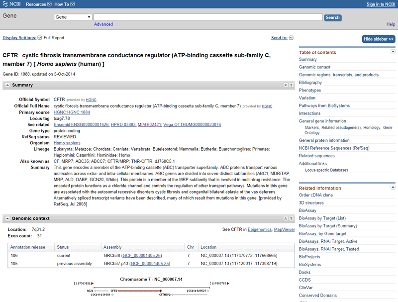 Screenshot for the gene page for CFTR on the NCBI gene database.