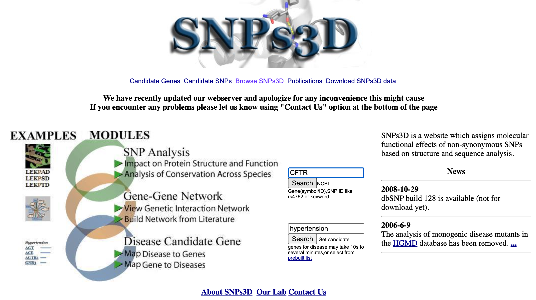 Screenshot of the homepage on the website snps3d.org