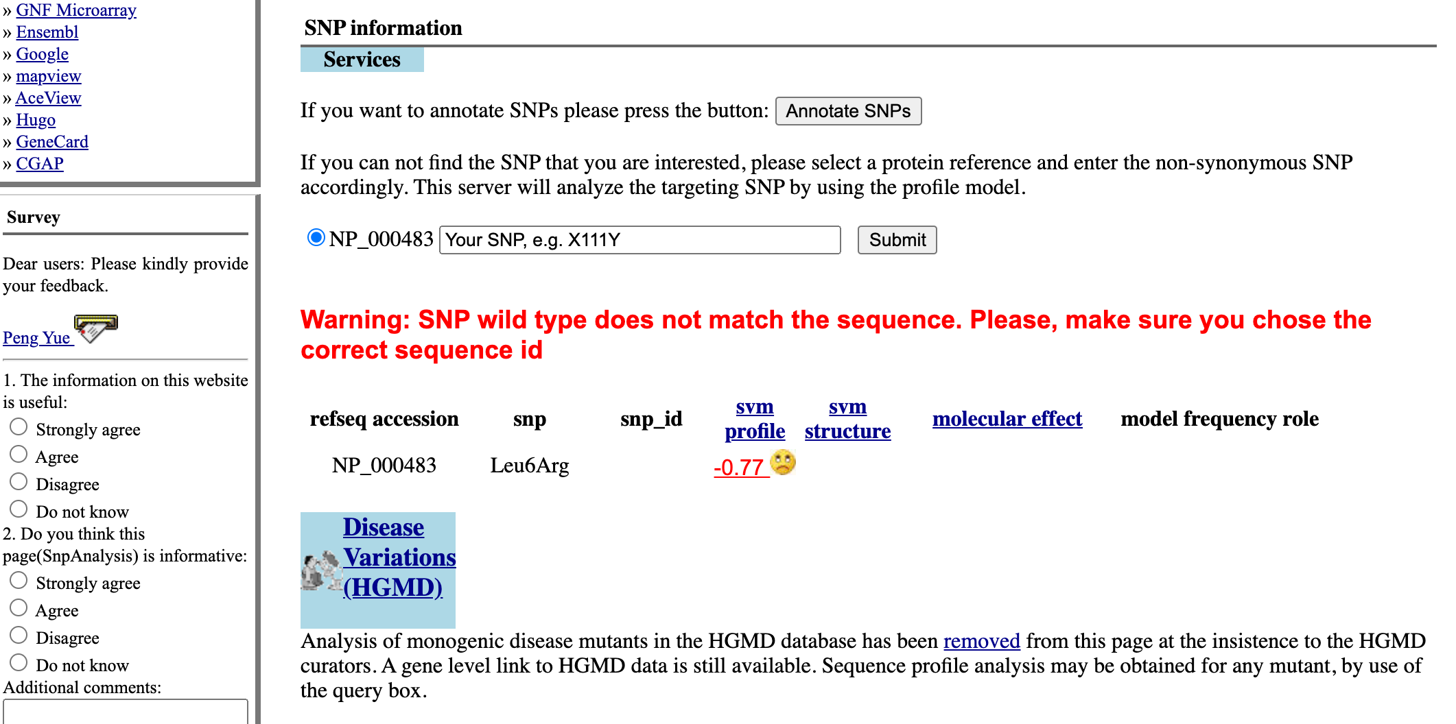 Screenshot of the SNPs3D gene page for CFTR, showing list of SNPs.