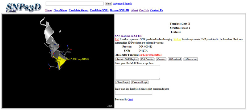 Screenshot of the SNPs3D gene page for CFTR