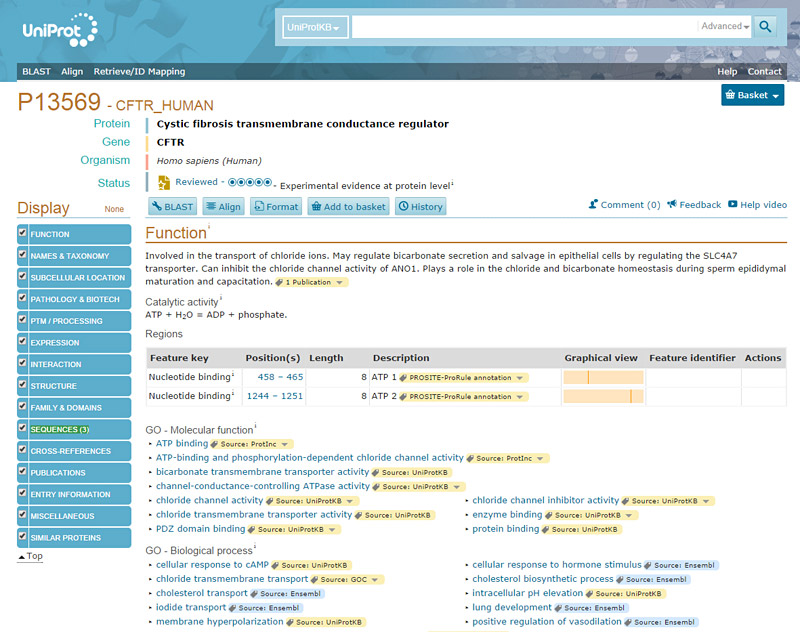 Screenshot of the CFTR gene information page on the website uniprot.org