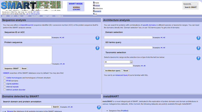 Screenshot of the sequence search page on the website smart.embl-heidelberg.de