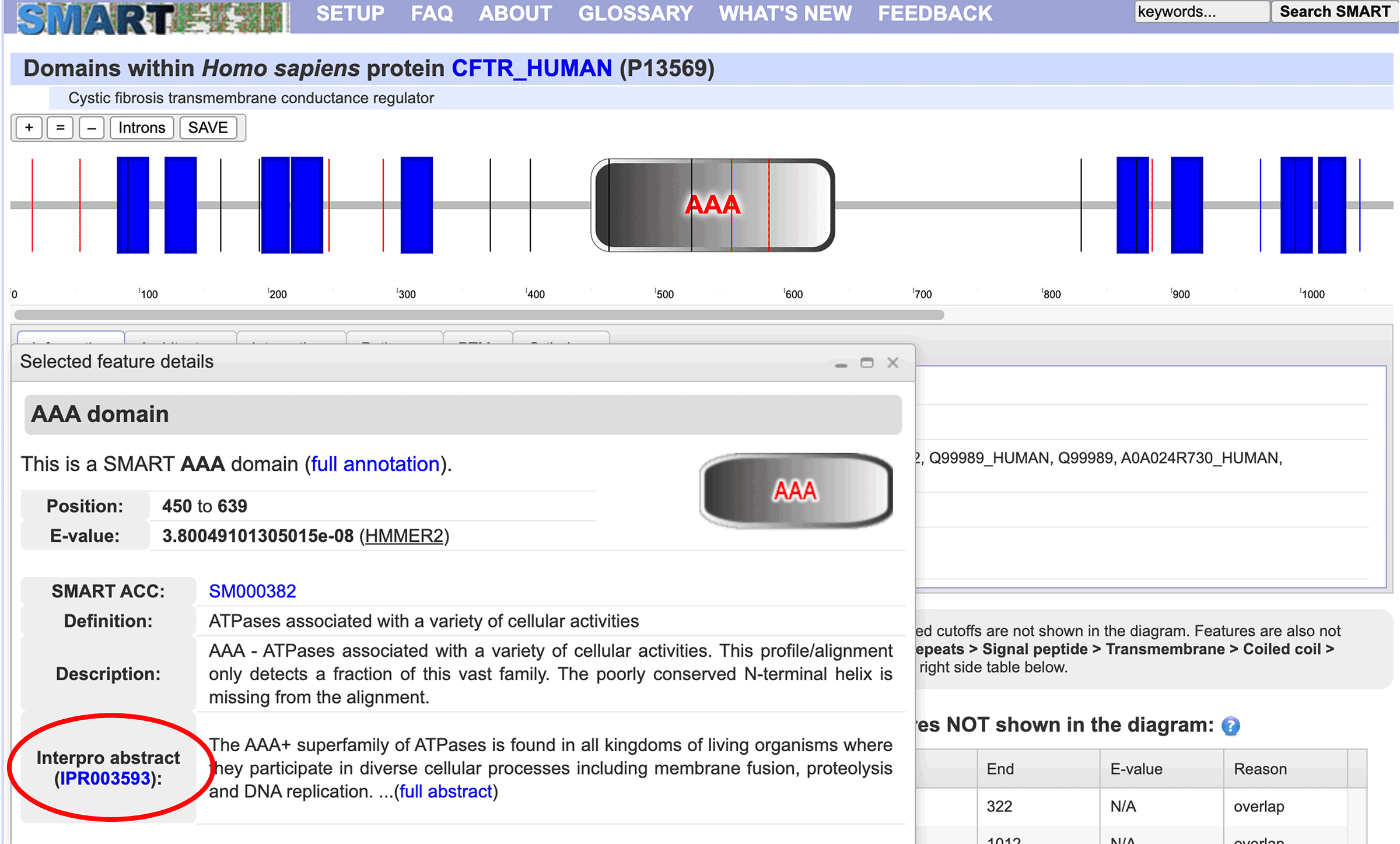 Screenshot of cystic fibrosis protein domains in SMART database.
