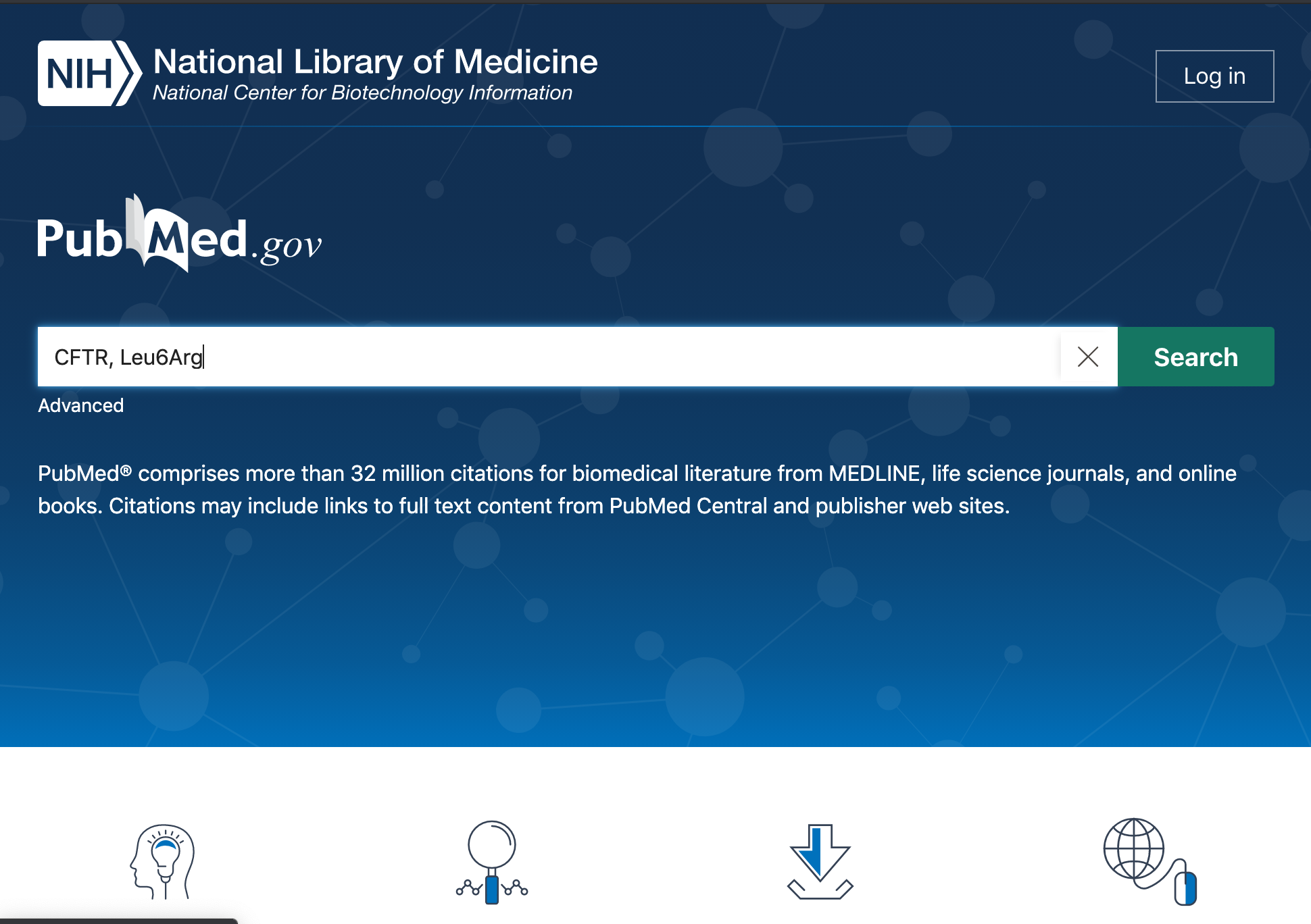 Screenshot of the homepage on the website ncbi.nlm.nih.gov/pubmed