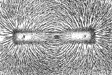 Drawing of iron filings moving along the lines of a magnetic field from a bar magnet