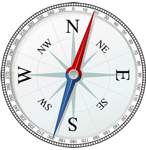 Drawing of a magnetic compass