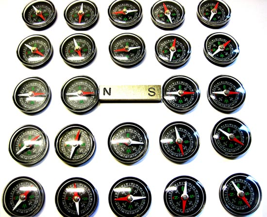 compasses showing the magnetic field around a bar magnet