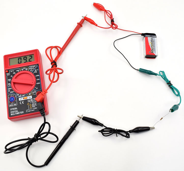setup to determine if a multimeter has a blown fuse