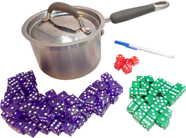 A pot with a lid, a pen and three piles of 6-sided dice separated by color, seventy purple, twenty-five green and five red