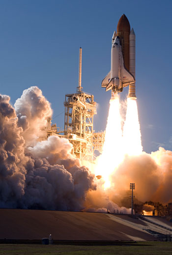 The STS-124 rocket lifts off with a powerful blast. (NASA courtesy photo)