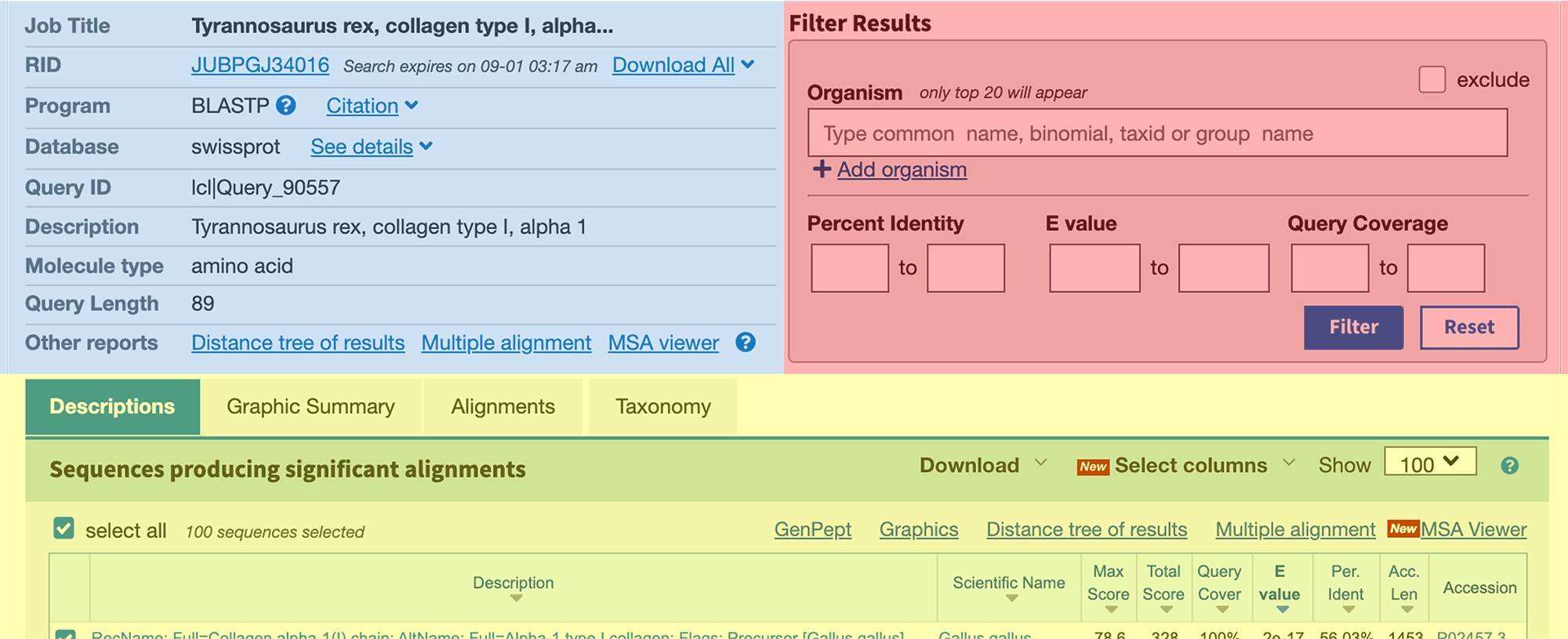 BLAST search results page based on query of T rex amino acid sequence.