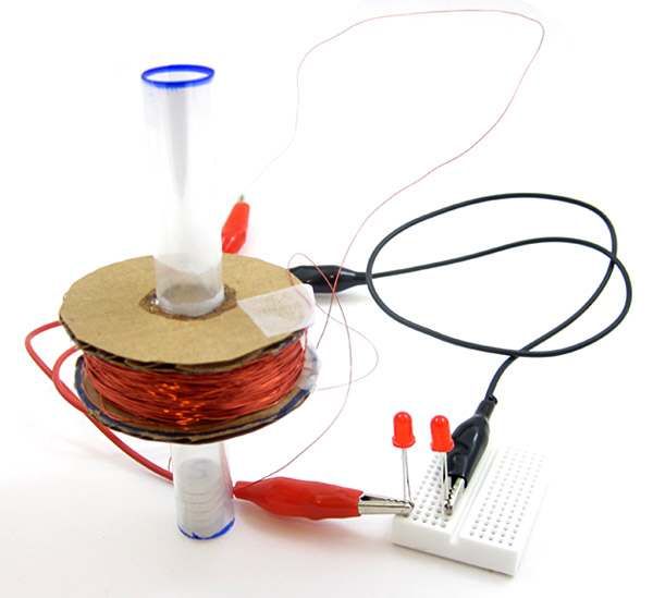 induction coil with magnet and LEDs