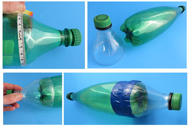 A collage illustrating the steps in creating an aerodynamic water bottle rocket with payload bay.