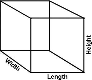 Drawing of a cube with dimensions labeled.