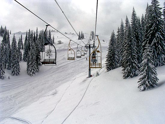 Photo from the chair of a ski lift