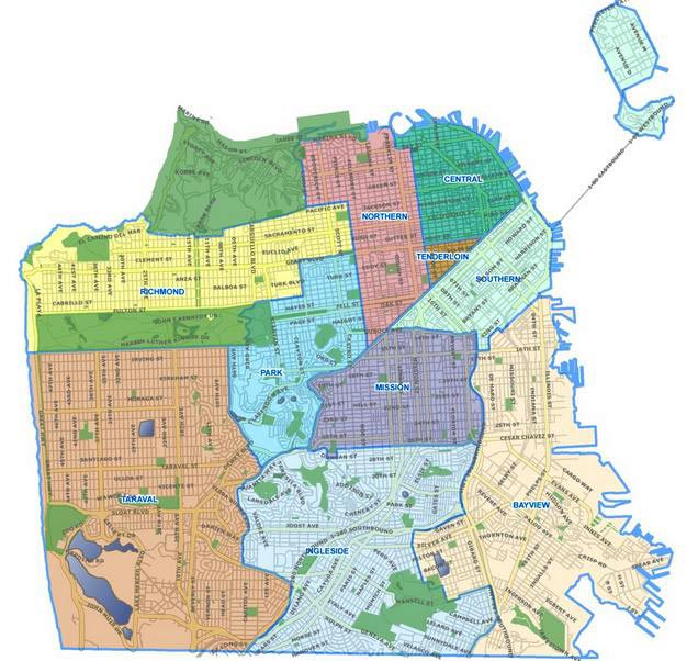 Map of San Francisco with each police district highlighted and labeled