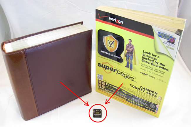 Example image shows the contents of a phonebook and photo album can now be stored on an SD card