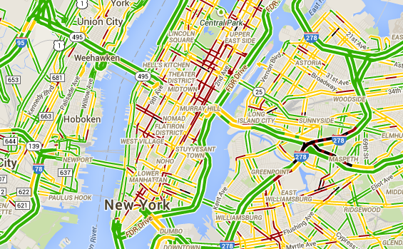 An image from Google Maps shows different levels of traffic for each street in New York City