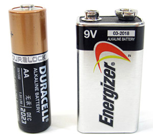 Photo of a double A and nine volt battery