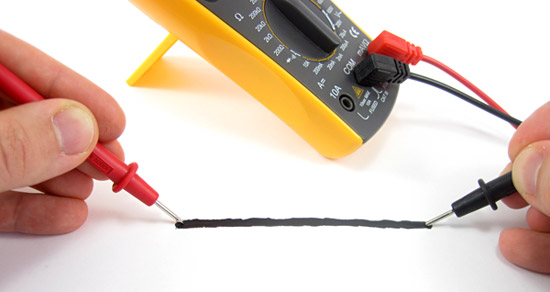 measuring resistance of electric paint with a multimeter