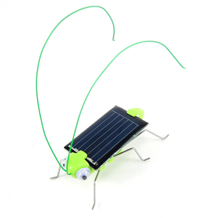 An assembled solar-powered grasshopper