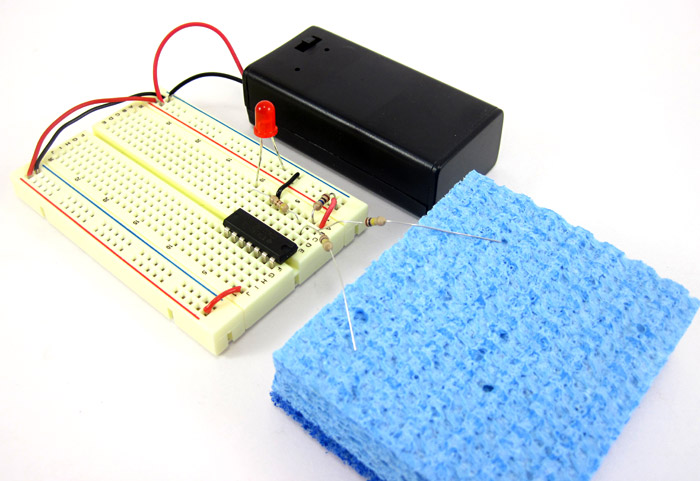 Two resistors from a breadboard circuit are inserted into a sponge