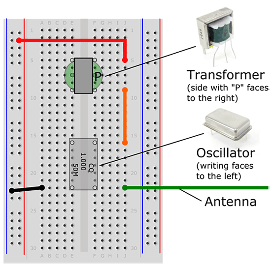 Wiring diagram shows a transformer, oscillator and antenna connected to a breadboard