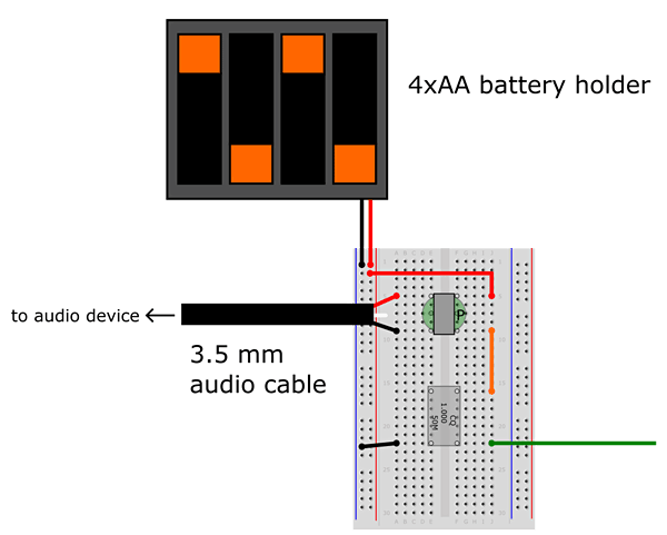expanded breadboard diagram for AM radio transmitter