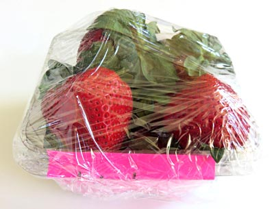 To promote mold growth, containers filled with strawberries are wrapped in plastic wrap.