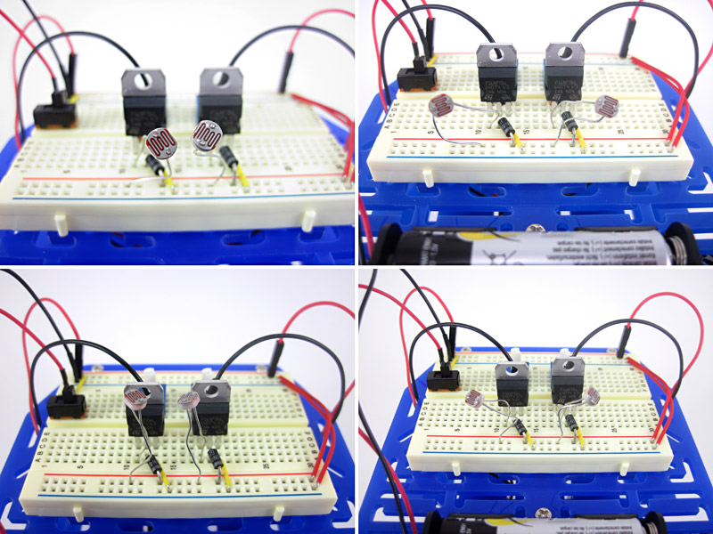 Two light sensors are placed in four different orientations on a breadboard