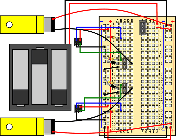 Wiring diagram shows how two motors and a battery pack are connected to a breadboard