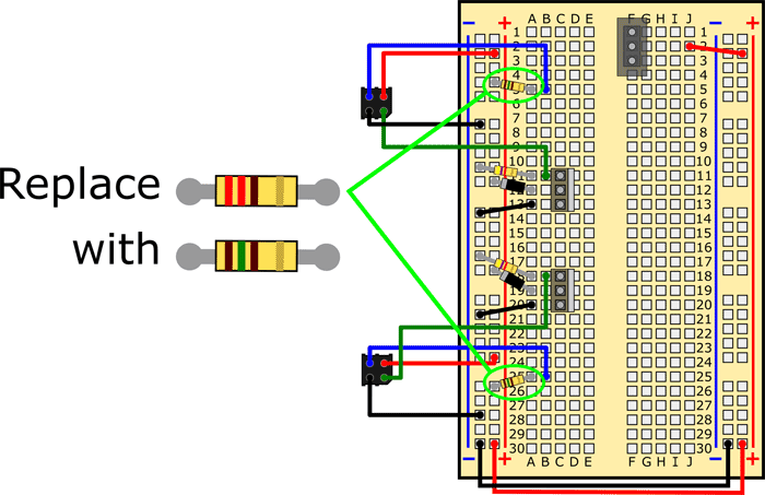 Wiring diagram shows resistors being replaced on a breadboard