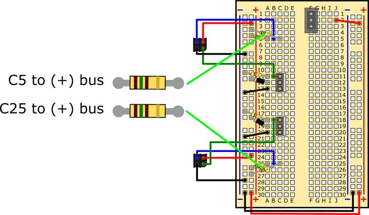 Wiring diagram shows resistors being added in parallel on a breadboard