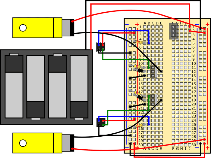 Breadboard diagram shows two motors and a battery pack wired to a line-following robot circuit