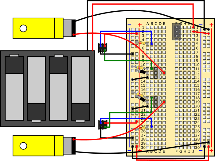 line tracking robot diagram with motor leads reversed