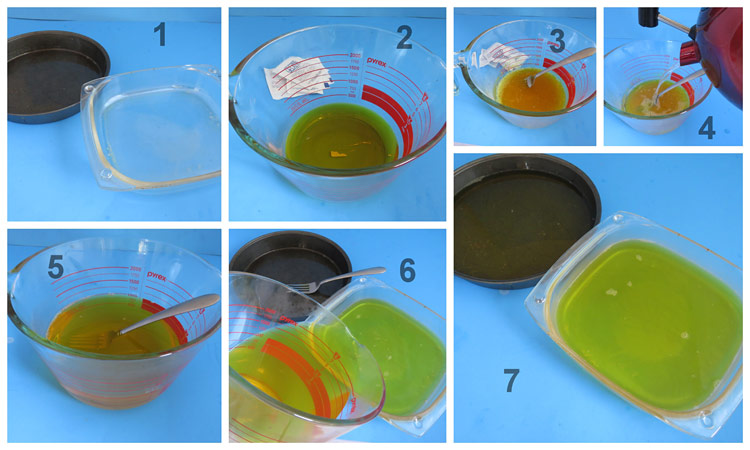 Jello being made in 7 steps
