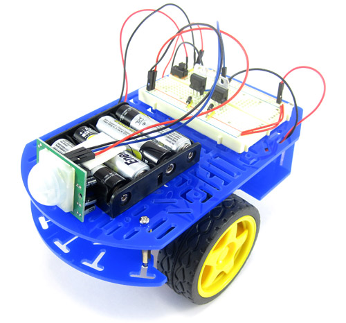 Motion activated guard robot with PIR sensor.