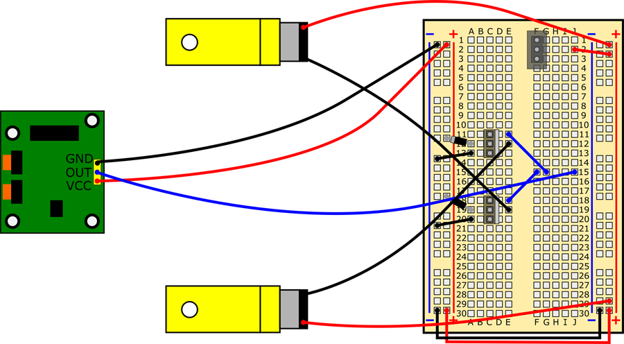 Connect bottom motor's red wire to (+) bus, black wire to hole E12.