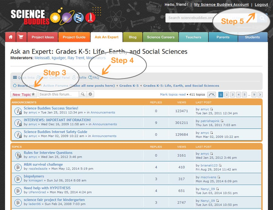 Screenshot of subject specific posts on the Ask an Expert Grades K-5 forum on the website ScienceBuddies.org