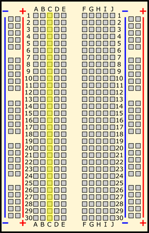 Drawing of a breadboard with column C highlighted in yellow