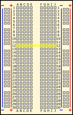 Drawing of a breadboard with row 12 highlighted in yellow