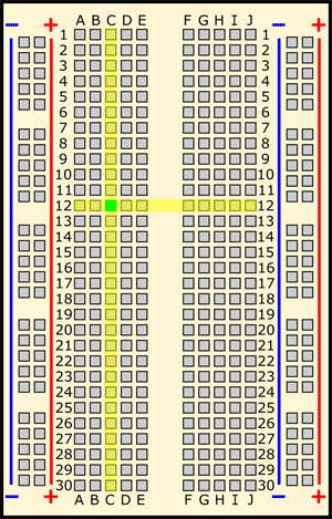 Drawing of a breadboard with column C and row 12 highlighted in yellow and the hole C12 highlighted in green