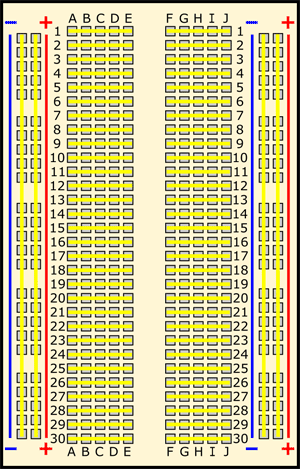 Drawing of a breadboard with all rows and columns highlighted in yellow