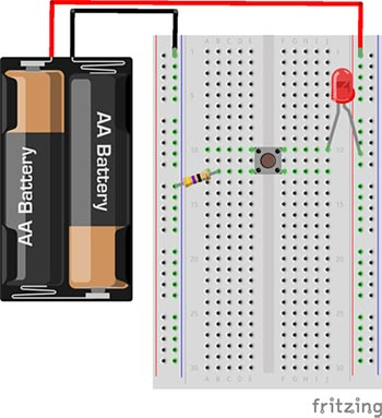 Drawing of a breadboard with a battery pack, resistor, button and LED