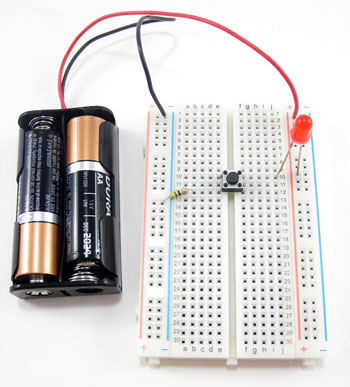 LED circuit on breadboard