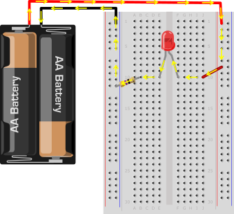 LED breadboard circuit 1