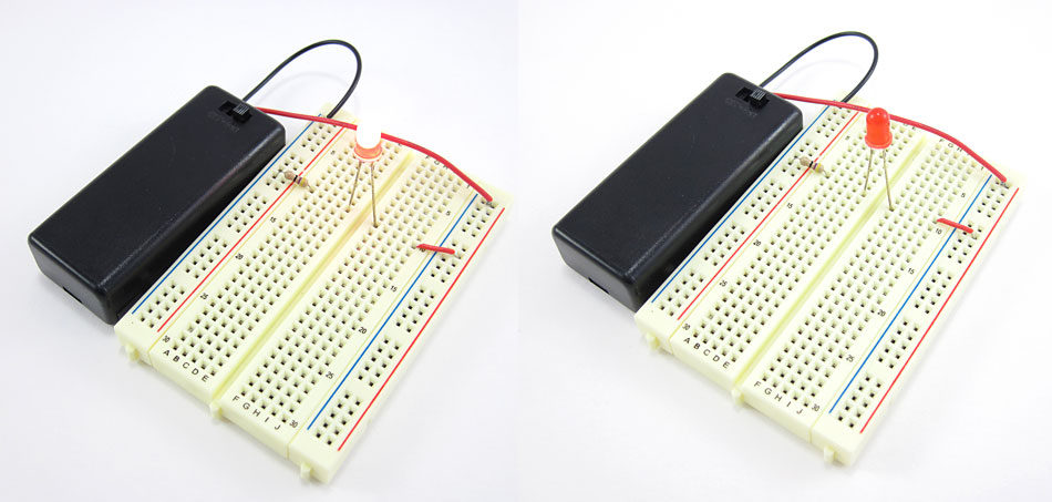 Two photos of a breadboard with a lit LED in the left photo and a jumper wire in the wrong row in the right photo
